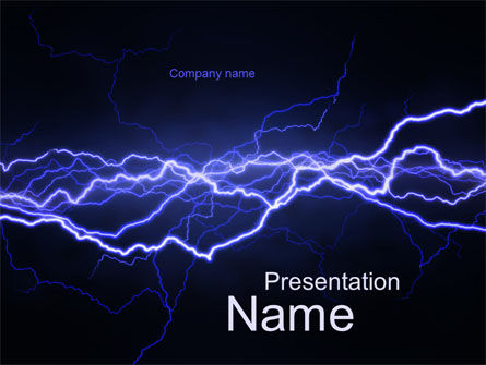 Abstract/Textures: Lightning in the Night Sky PowerPoint Template #10024