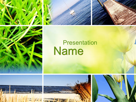 Nature & Environment: Summer Beach River PowerPoint Template #10028
