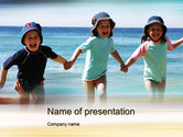 People: Happy Children on the Sea PowerPoint Template #10040