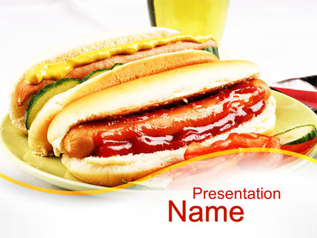 Yummy Hot-Dog PowerPoint Template, 10049, Food & Beverage — PoweredTemplate.com