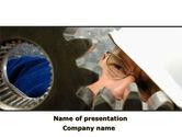Utilities/Industrial: Adjusting Gear Transmission PowerPoint Template #10065