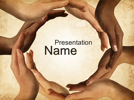 Religious/Spiritual: Circle of Hands PowerPoint Template #10080