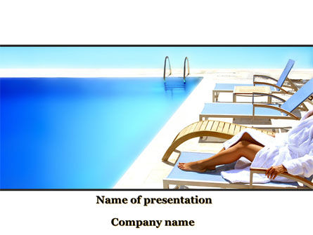 Careers/Industry: Resting After Swim Near Pool PowerPoint Template #10088