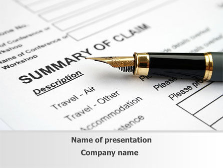 Summary of Claim PowerPoint Template, 10090, Legal — PoweredTemplate.com