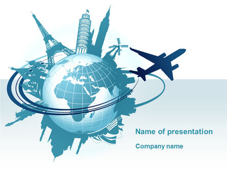 Round The World On A Plane PowerPoint Template, 10091, Cars and Transportation — PoweredTemplate.com