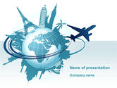 Cars and Transportation: Round The World On A Plane PowerPoint Template #10091