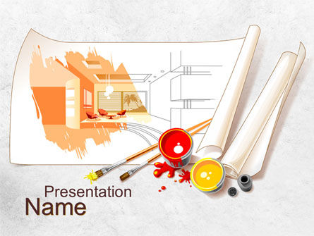 Interior Design Sketch PowerPoint Template, 10092, Careers/Industry — PoweredTemplate.com