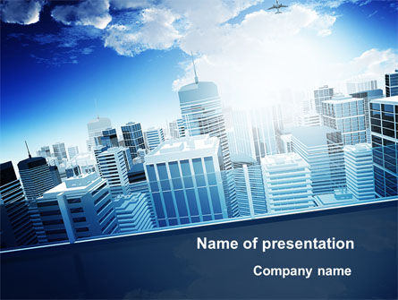 Business District PowerPoint Template, 10118, Construction — PoweredTemplate.com