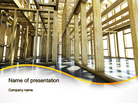 Wooden House Framework PowerPoint Template, 10144, Construction — PoweredTemplate.com
