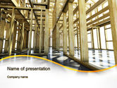 Construction: Wooden House Framework PowerPoint Template #10144