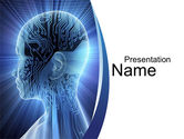 Technology and Science: Cybernetic Silhouette PowerPoint Template #10170