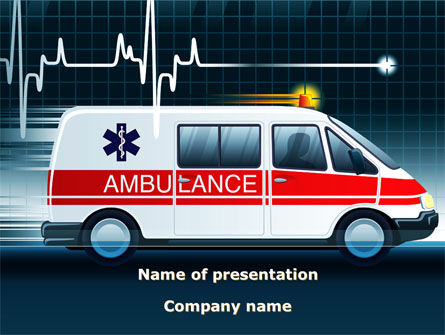 Racing Ambulance PowerPoint Template, 10175, Medical — PoweredTemplate.com