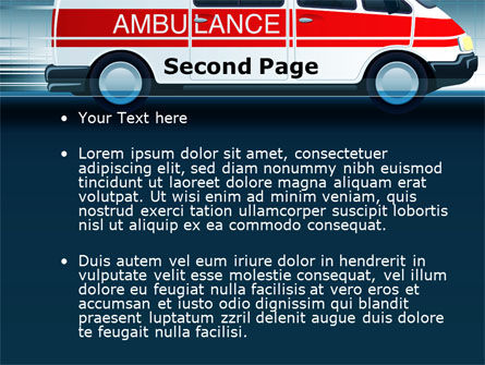 Racing Ambulance PowerPoint Template, Slide 2, 10175, Medical — PoweredTemplate.com