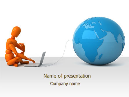 World at Fingertips PowerPoint Template, 10202, Computers — PoweredTemplate.com