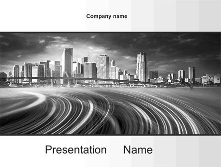 Monochrome City PowerPoint Template, 10253, Construction — PoweredTemplate.com
