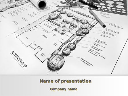 Landscape Design PowerPoint Template, 10261, Construction — PoweredTemplate.com