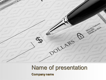 Financial/Accounting: Writing a Check PowerPoint Template #10338