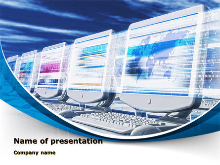 Line of Computers PowerPoint Template