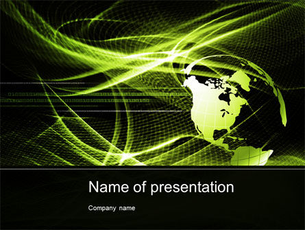 Green Waves Globe PowerPoint Template, 10346, Global — PoweredTemplate.com