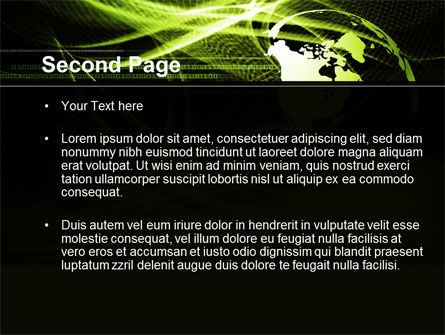 Green Waves Globe PowerPoint Template, Slide 2, 10346, Global — PoweredTemplate.com
