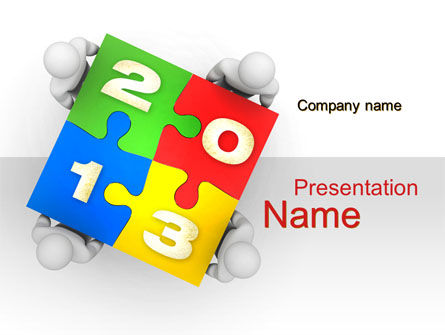 2013 ny Puzzle PowerPoint Template, 10408, Business Concepts — PoweredTemplate.com