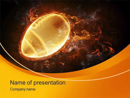 Sports: Fiery American Football Ball PowerPoint Template #10412
