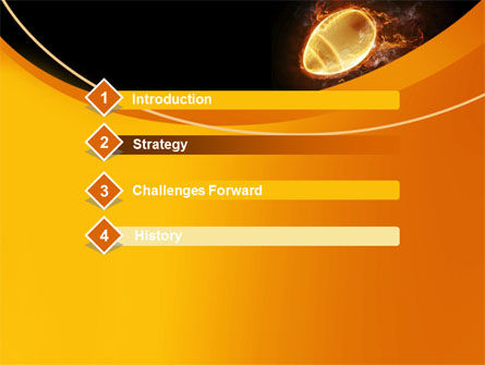 Fiery American Football Ball PowerPoint Template, Slide 3, 10412, Sports — PoweredTemplate.com