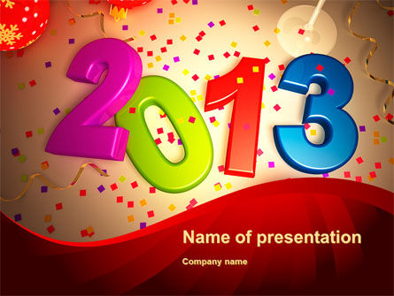 2013 and Confetti PowerPoint Template, 10461, Holiday/Special Occasion — PoweredTemplate.com