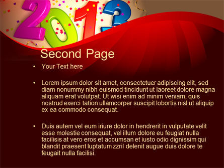2013 and Confetti PowerPoint Template, Slide 2, 10461, Holiday/Special Occasion — PoweredTemplate.com