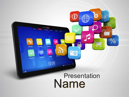 Mobile Applications PowerPoint Template, 10464, Technology and Science — PoweredTemplate.com