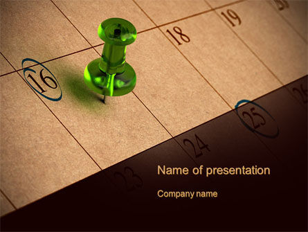 Business Concepts: Pushpin in Calendar PowerPoint Template #10475