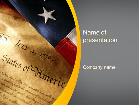 USA Declaration of Independence PowerPoint Template, 10487, America — PoweredTemplate.com