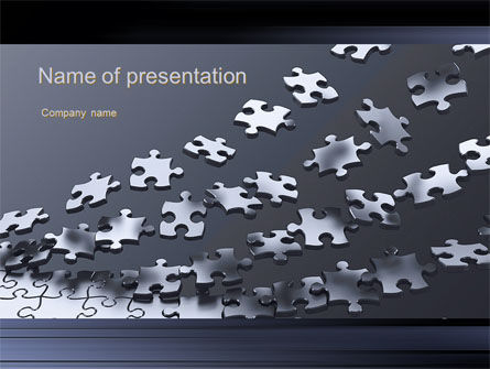 Consulting: Lines of Puzzle Pieces PowerPoint Template #10502
