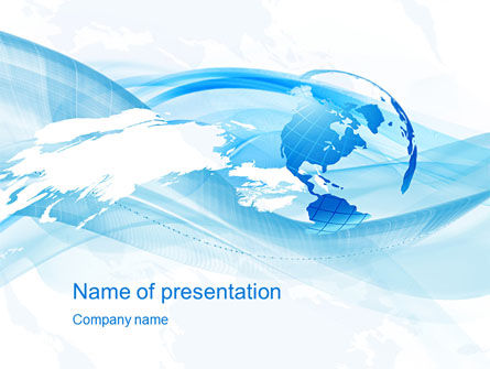 Global: Blue Waves Globe PowerPoint Template #10503