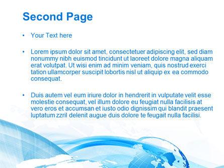 Blue Waves Globe PowerPoint Template, Slide 2, 10503, Global — PoweredTemplate.com