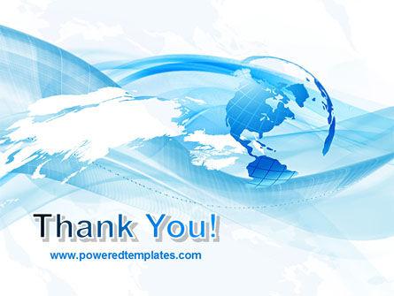 Blue Waves Globe PowerPoint Template Slide 20