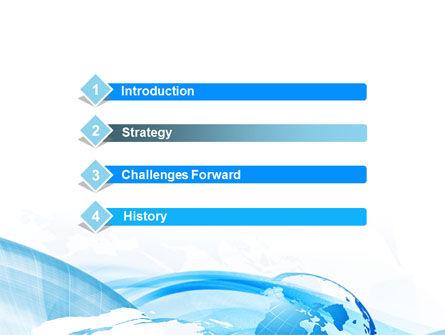 Blue Waves Globe PowerPoint Template, Slide 3, 10503, Global — PoweredTemplate.com