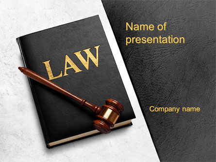 Legal: Law Book with Gavel PowerPoint Template #10536