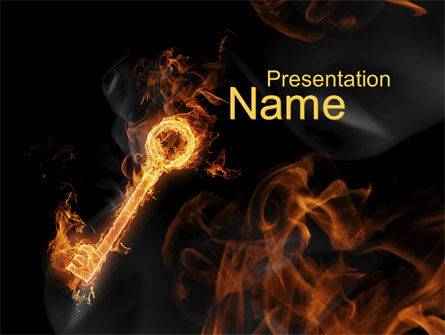Business Concepts: Fire Key PowerPoint Template #10539