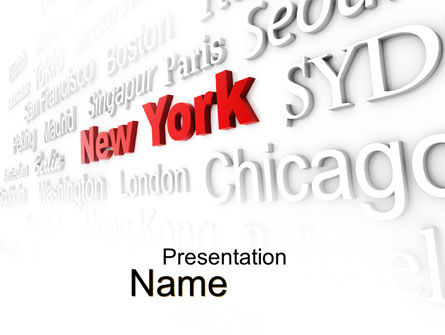 Destination New York PowerPoint Template, 10563, Business Concepts — PoweredTemplate.com