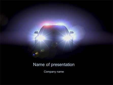 Police Car at Night PowerPoint Template, 10579, Legal — PoweredTemplate.com