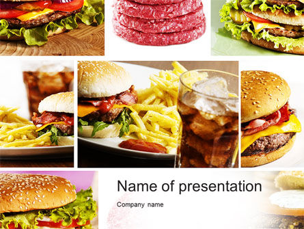 Fast Food Set Powerpoint Template Backgrounds