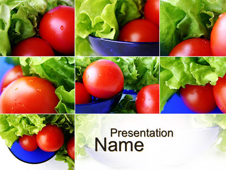 Food & Beverage: Lettuce and Tomato PowerPoint Template #10606