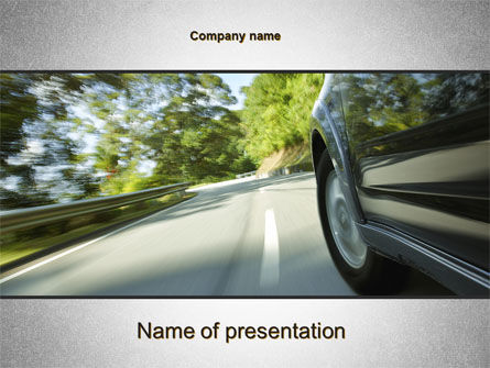 Cars and Transportation: Driving on Winding Road PowerPoint Template #10626