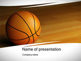 Sports: Basketball on Floor PowerPoint Template #10638