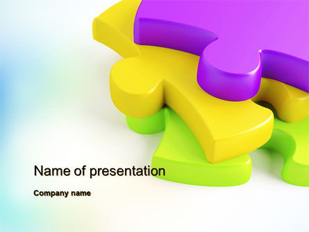 Colored Puzzle Pieces Powerpoint Template Backgrounds