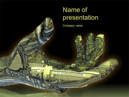 Robotic Hand PowerPoint Template, 10656, Technology and Science — PoweredTemplate.com