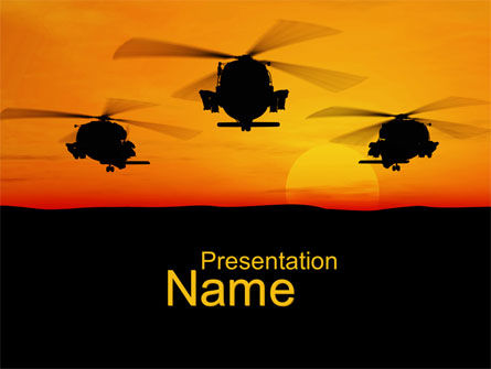 helicopters at sunset powerpoint template, backgrounds | 10662, Modern powerpoint