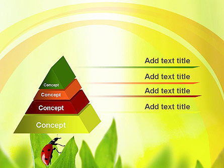 ladybug on grass powerpoint template backgrounds 10670