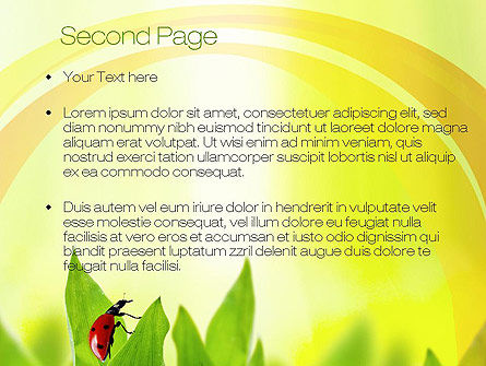 Ladybug on Grass PowerPoint Template, Slide 2, 10670, Nature & Environment — PoweredTemplate.com